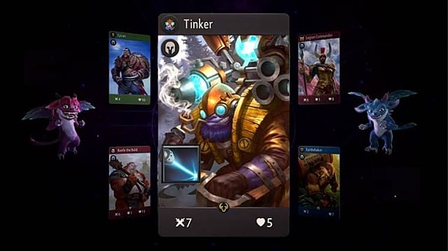 The Tinker card is shown with a cyberpunk robot on its face