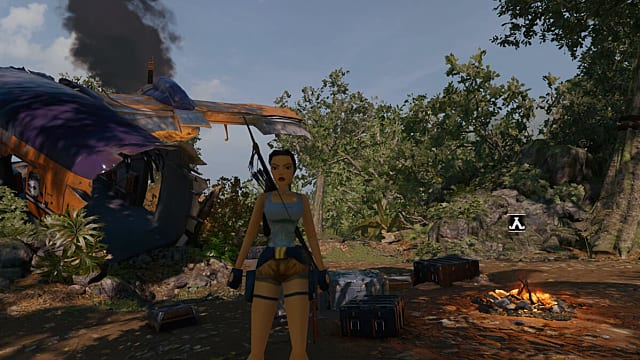 Lara wears a throwback PS1-era polygonal skin as she stands in front of plane wreckage