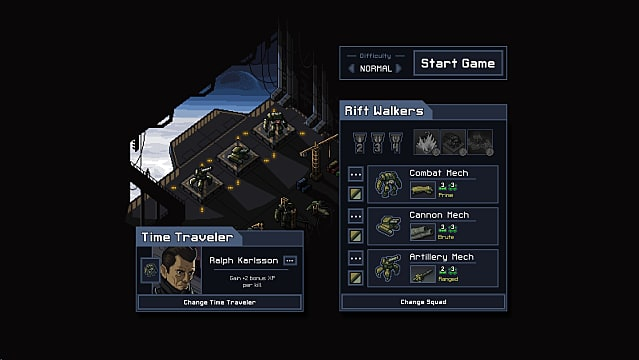 Starting the game in Into the Breach. Mechs sit in a cargo bay of a ship