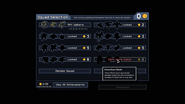The squad selection and unlock screen in Into the Breach