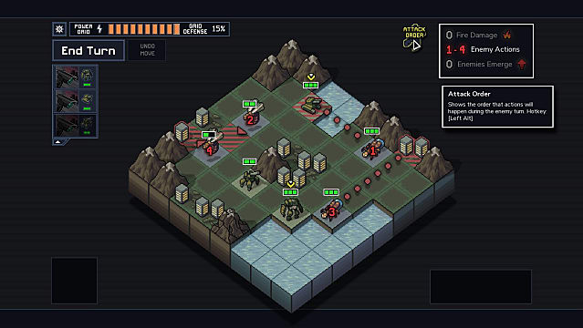 Units fight on an 8 x 8 grid battlefield in Into the Breach