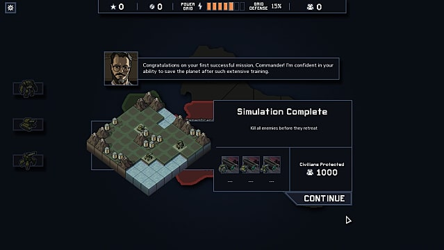 The simulation complete screen in Into the Breach shows a man in glasses congratulating the player on completing the mission