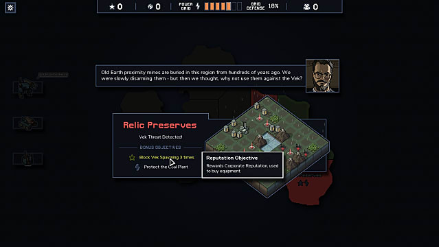 A player inspects relic preserves, an optional objective, in Into the Breach