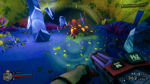 A player holds a minigun in a blue and green cave as he searches for gems in Deep Rock Galactic