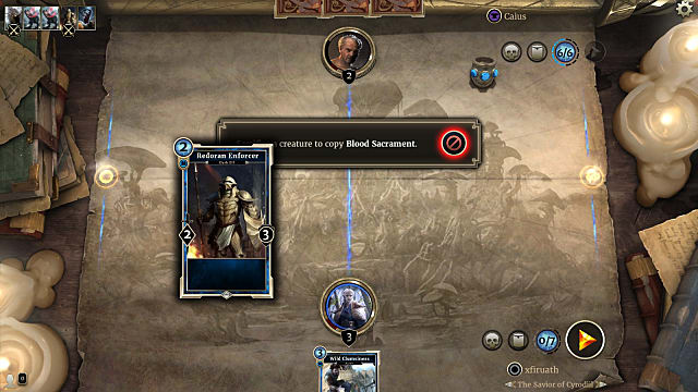 cards on the table during the telvanni Initiation Puzzle of Elder Scrolls Legends Houses of Morrowind expansion