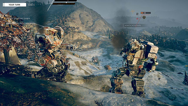 two mechs approaching one another on the battlefield