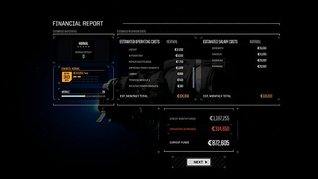 a financial report in battletech
