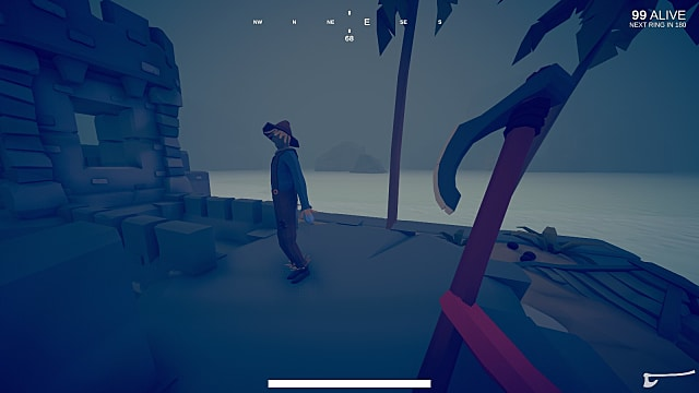 A player holds a red battleax as they approach another player on the shore