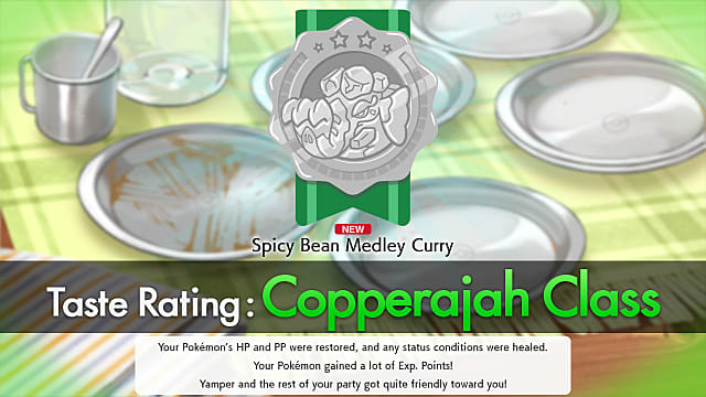 Pokemon sword and shield curry taste rating for Copperajah Class.