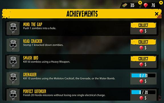 The achievements screen in Dead Island Survivors