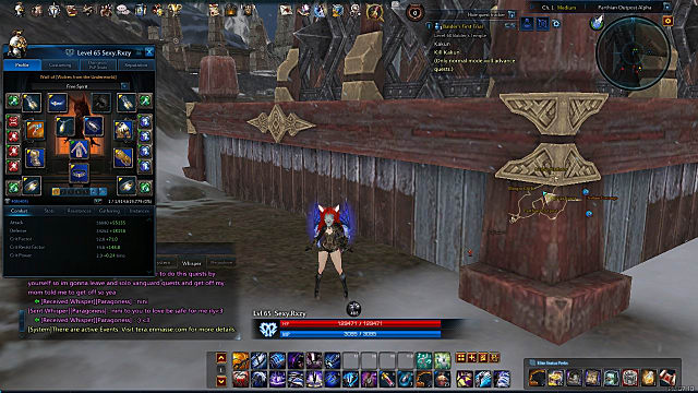 Gear selection screen in TERA