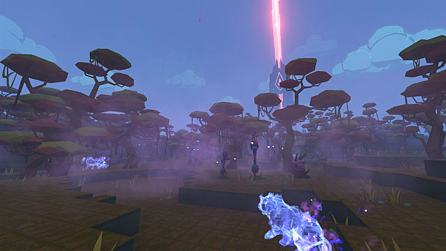 a tower emanates red light in the distance as seen from the Magic Forest in PixARK