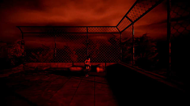 Ghastly shades of red and black make for an eerie scene