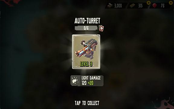 The trap upgrade screen in Dead Island Survivors shows the auto-turret at level 3