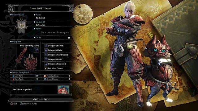 Monster Hunter World guild cards display all sorts of useful info