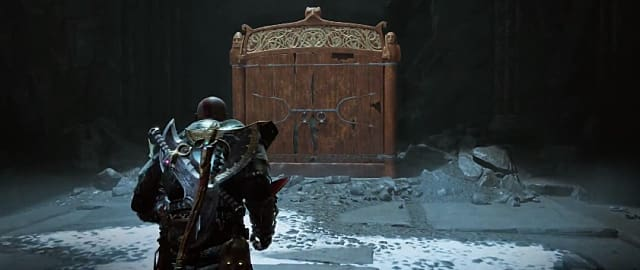 Kratos standing in front of the Path to the Mountain shrine