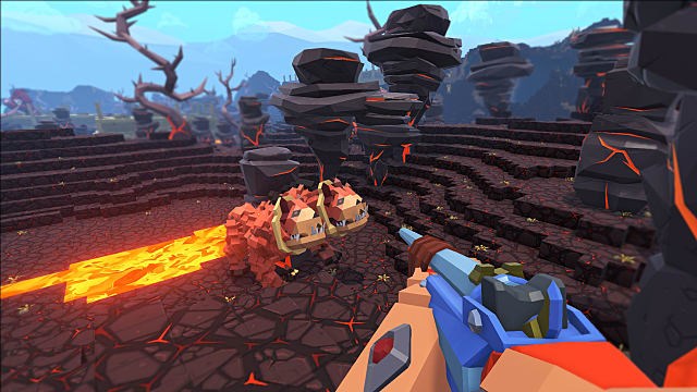 aiming down the sights at a two-headed creature standing by some lava in PixARK
