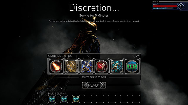 starting screen showing glyphs in Golem Gates