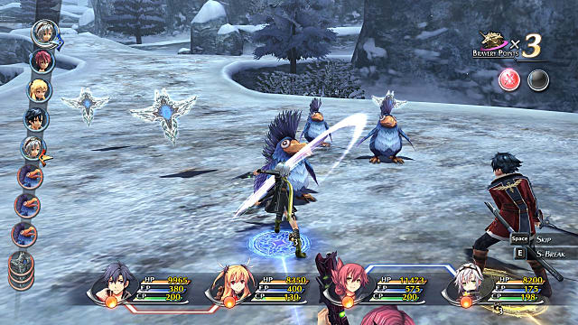 Characters battle enemies in a snowy landscape