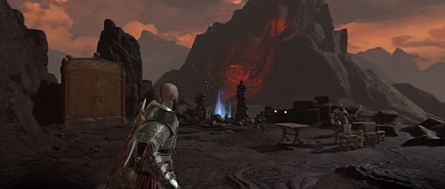 Kratos coming up to the Muspelheim Shrine at twilight