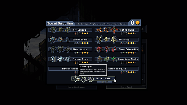Squad Selection screen in Into the Breach