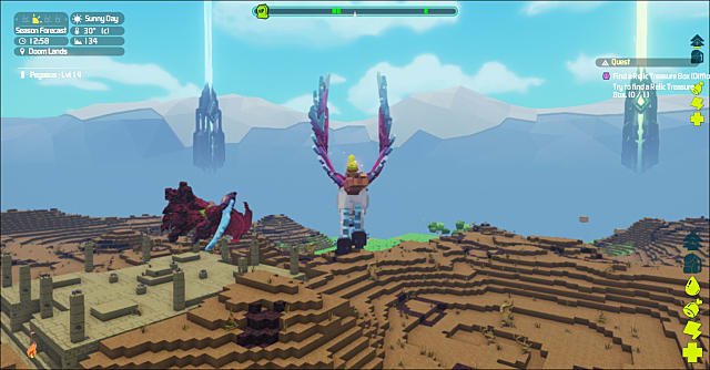 soaring above the pixelated terrain in PixARK