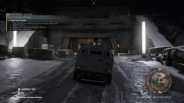 Driving a military vehicle down through a tunnel