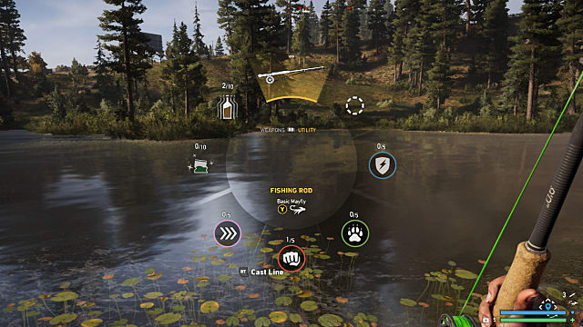 Far Cry 5 radial menu from which you can choose a fishing rod
