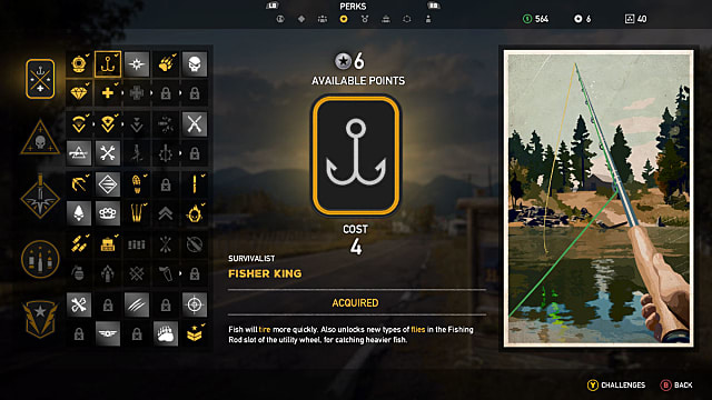 Far Cry 5 perk screen showing the Fisher King perk