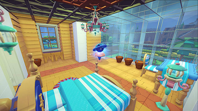 a well-decorated room full of vibrant colors and a comfy bed in PixARK