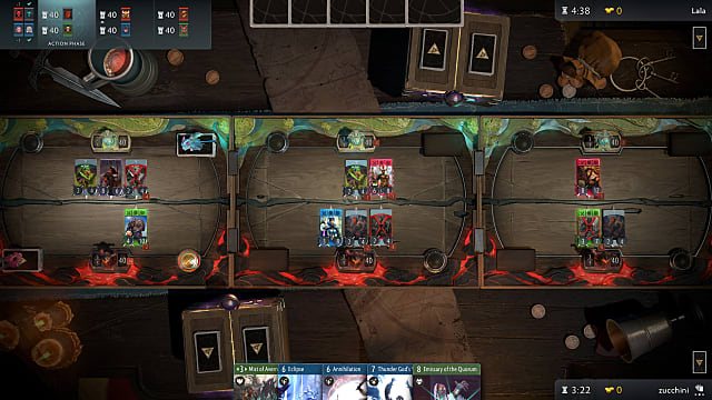 Artifact's three lanes show cards being played