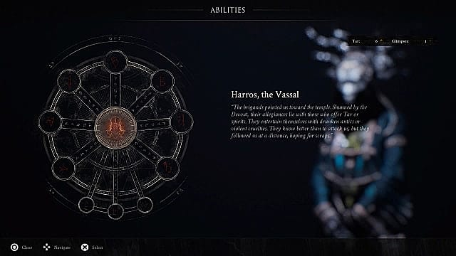 A wheel of interconnected circles showing abilities for Harros, the Vassal.