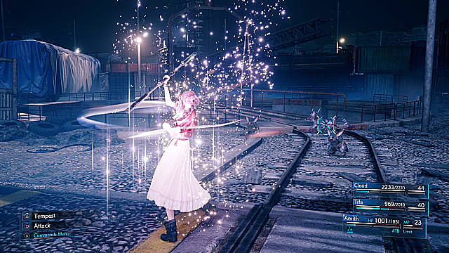 Aerith casts a spell in Final Fantasy 7 Remake.