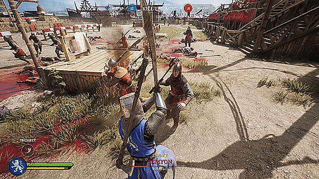 Agathian Vanguard attacking a Mason soldier with a Messer in tournament grounds.