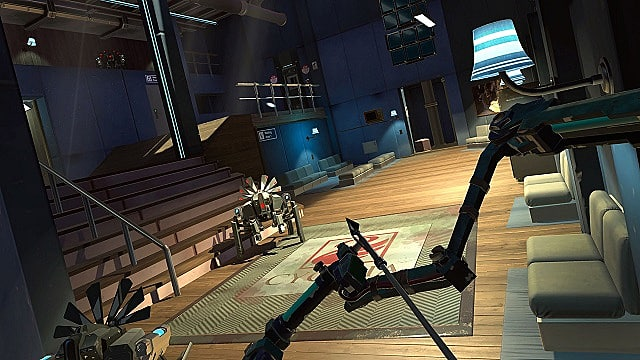 Aiming the bow and arrow at a robot inside Apex Construct's research facility
