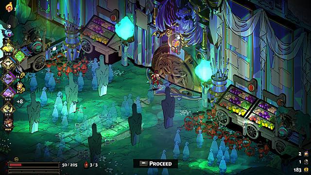 Zagreus standing in front of an ornate dungeon door leading to Elysium.