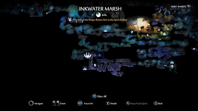 Ori and the Will of the Wisps ancestral light location map.