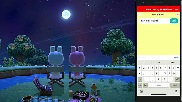 Download the Animal Crossing New Horizons chat app to talk with friends while playing.