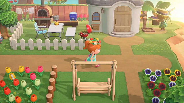Running down a path by a house in Animal Crossing New Horizons.