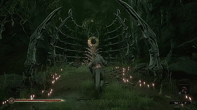 Solomon walking up to the Strange Altar made of bone, surrounded by lit candles.