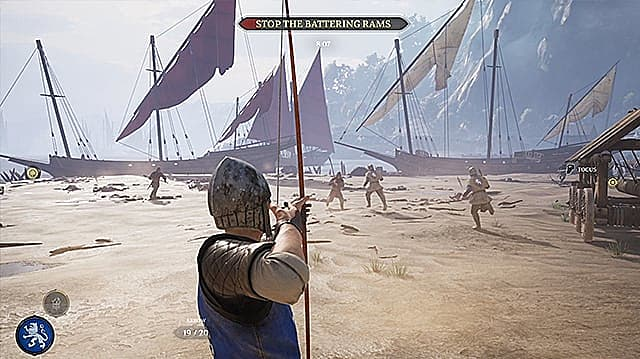 Agathian archer aiming at Mason soldiers on a beach with ships in the background.