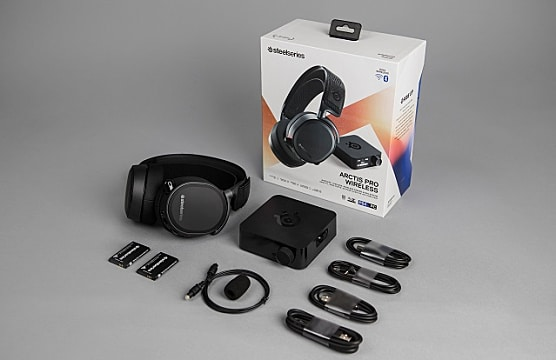 Arctis Pro Wireless with box, USB transmitter, and cables