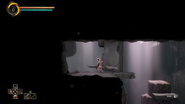 Character with red arms holding a blade in a dimly lit cave.