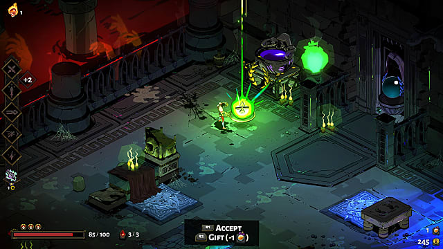 Zagreus picking up a green Artemis Boon in a dungeon.