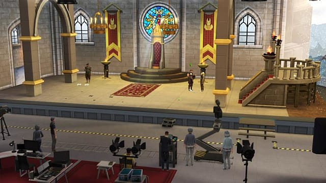 Sims filming and acting on a medieval stage.