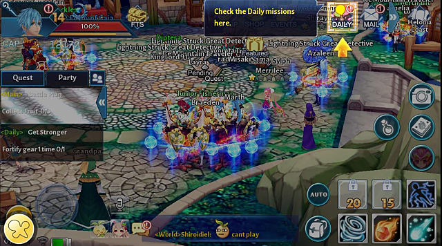 menu on this Aura Kingdom Mobile screen showing how to check the daily missions