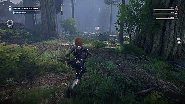 Black Widow running through the jungle, between two massive trees.