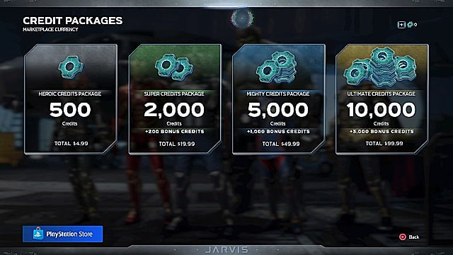 Credit packages in a menu showing different tiers players can purchase for credits.