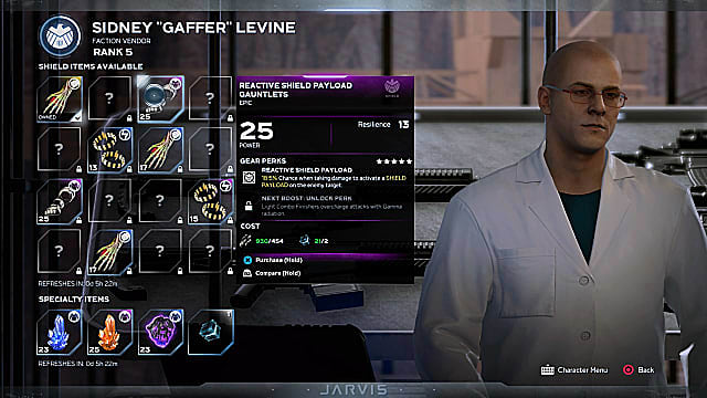 Sideny Levine showing his faction reward items, with some unlocked and other still hidden.