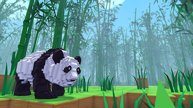 A panda walks through a bamboo forest in Pixark